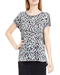 Vince Camuto Two By Camtuo Abstract Animal Print Burnout Tee Rich Black