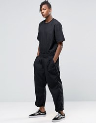 Asos Boiler Suit With Crew Neck And Self Fabric Waistband In Black Black