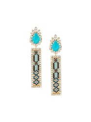 Shourouk 'Bastet' Clip On Earrings Blue