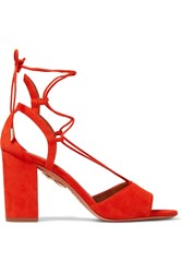 Aquazzura Austin Lace Up Suede Sandals Tomato Red