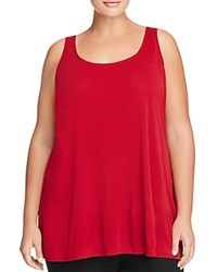 Eileen Fisher Plus Scoop Neck Silk Tank China Red