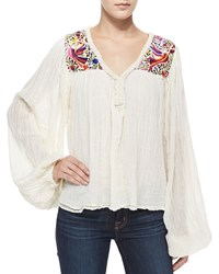 Golden By Jen Rossi Petite Belen Long Sleeve Paradise Embroidered Blouse Natural