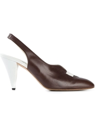 Fendi Vintage Sling Back Pumps Brown