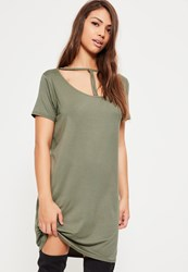 Missguided Khaki Triangle Strap Front Oversized T Shirt Dress