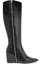 Alexander Wang Lea Leather Wedge Knee Boots Black