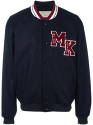 Maison Kitsune Logo Patch Teddy Jacket Blue