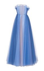 Luisa Beccaria Tulle Multicolor Ball Gown Blue