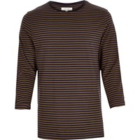 River Island Mens Navy And Yellow Stripe Rolled Sleeve Top