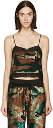 Ashish Green And Black Sequined Camo Camisole