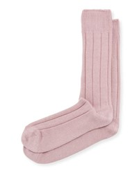 Neiman Marcus Cashmere Blend Ribbed Socks Pink