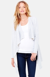Ingrid And Isabel Drape Front Maternity Cardigan Light Heather Grey