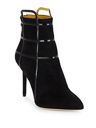 Charlotte Olympia Eileen Suede And Patent Leather Cage Booties Black