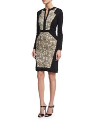 Etro Long Sleeve Combo Sheath Dress Ivory Gold Beige