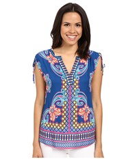 Hale Bob Take Your Pick Top W Drawstring Detail At Shoulder Blue Women's Blouse