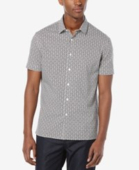 Perry Ellis Men's Dot Short Sleeve Shirt Bright White