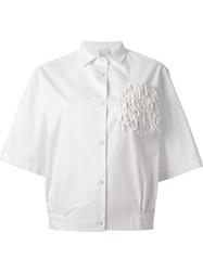 Co Te Fringe Detail Short Sleeve Shirt White