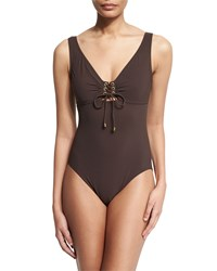 Karla Colletto Lace Up Front Underwire One Piece Swimsuit Size 8 Purple Chocolate