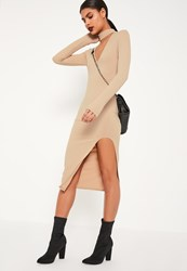 Missguided Nude Ribbed Curve Thigh Split Midi Dress Stone