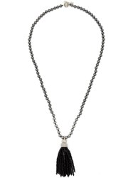 Oscar De La Renta Beaded Tassel Necklace Black