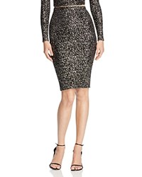 Aqua Metallic Splatter Pencil Skirt Black Gold