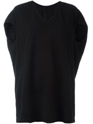 Rick Owens Drkshdw Ribbed Detail V Neck T Shirt Black