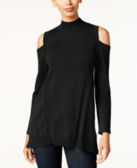 Styleandco. Style Co. Cold Shoulder Mock Neck Sweater Only At Macy's Deep Black