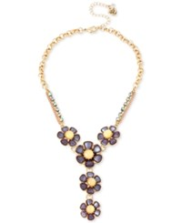 Betsey Johnson Gold Tone Purple And Yellow Stone Flower Lariat Necklace
