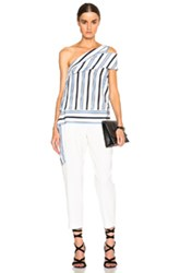 Msgm Striped One Shoulder Blouse In White Blue Stripes
