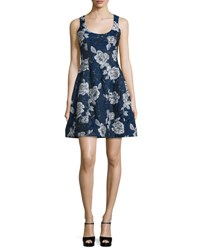 Prabal Gurung Sleeveless Floral Jacquard Dress Blue