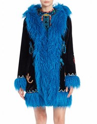 Anna Sui Sequin And Faux Fur Accented Coat Black Multi