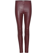 Balenciaga Leather Trousers Red