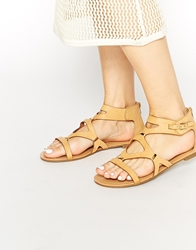 London Rebel Roman Gladiator Sandals Natural