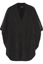 Splendid Sierra Faux Leather Trimmed Cable Knit Poncho Charcoal
