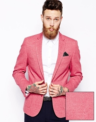 Asos Slim Fit Blazer In Jersey Red