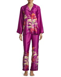 Natori Imperial Floral Embroidery Pajama Set Purple Haze