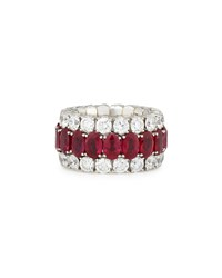 18K White Gold Expanding Ruby And Diamond Ring Picchiotti