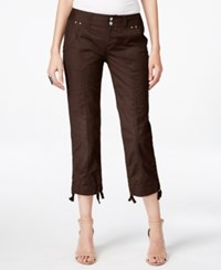 Inc International Concepts Petite Ruched Leg Cargo Capri Pants Only At Macy's Coffee Bean