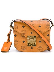 Mcm Printed Logo Cross Body Bag Nude And Neutrals