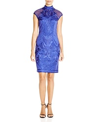 Sue Wong Mock Neck Cap Sleeve Dress Sapphire
