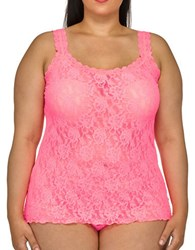 Hanky Panky Plus Floral Lace Unlined Camisole Sizzle Pink