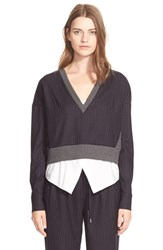 Women's Derek Lam 10 Crosby Pinstripe Pullover And Camisole 2 In 1 Top