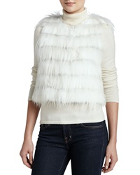 Trilogy Rabbit And Goat Fur Tiered Vest Ivory