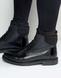 Asos Lace Up Boots In Black Leather With Neoprene Cuff Black