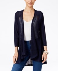 Styleandco. Style Co. Petite Open Front Cardigan Only At Macy's Industrial Blue
