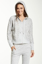 Central Park West Burnout Animal Printed French Terry Hoodie Gray