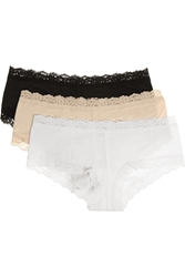 Hanky Panky Set Of Three Lace Trimmed Stretch Cotton Jersey Briefs