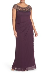 Xscape Evenings Plus Size Women's Xscape Beaded Neck Empire Gown Plum Antique