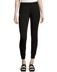 Neiman Marcus Cropped Pull On Track Pants Black
