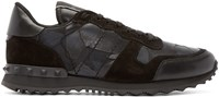 Valentino Black Camouflage Butterfly Sneakers
