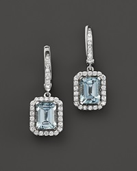 Bloomingdale's Aquamarine And Diamond Drop Earrings In 14K White Gold White Blue